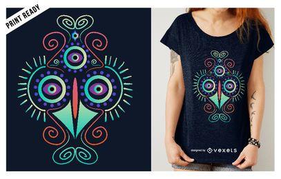 Diseño de camiseta de pollo psicodélico.