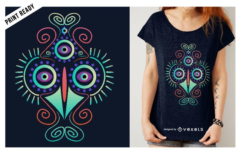 Design de t-shirt de galinha psicodélico