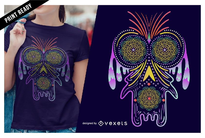 Diseño de camiseta de criatura psicodélica