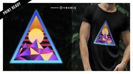 Diseño de camiseta psicodélica triángulo.