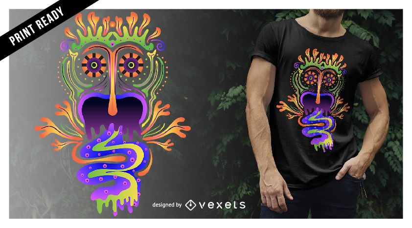 Design de camiseta de criatura alucinante