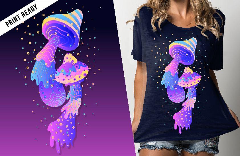 Projeto do t-shirt do cogumelo dos psicadélicos