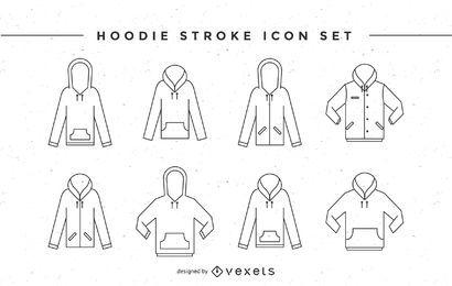 Conjunto de iconos de trazo con capucha