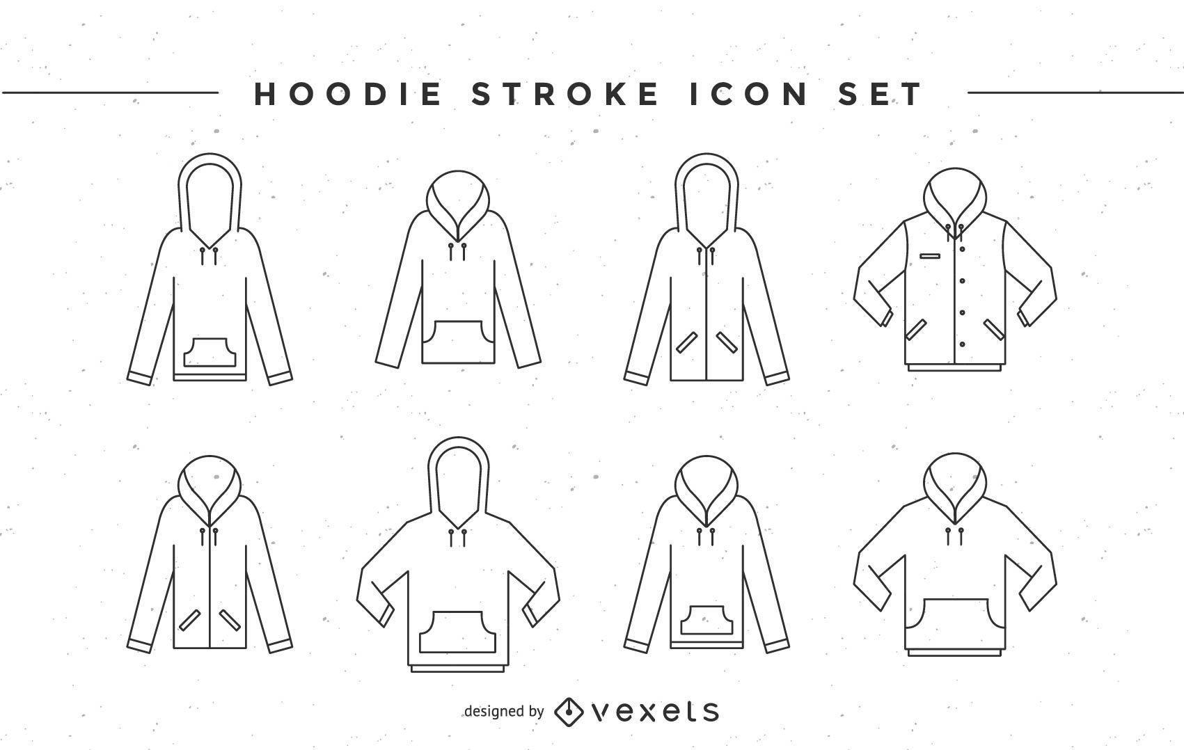 Conjunto de iconos de trazo de sudadera con capucha