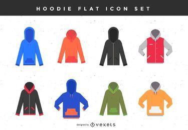 Hoodie flache Icon-Set