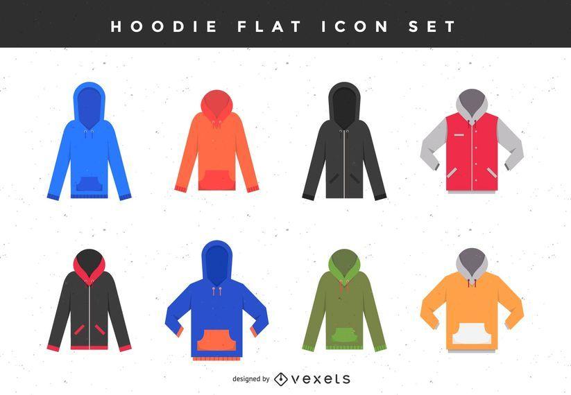 Conjunto de iconos plana con capucha