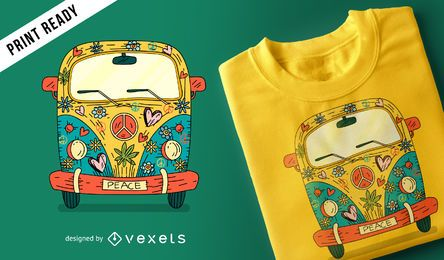 Hippie van design de t-shirt