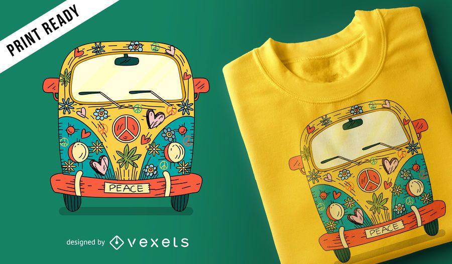 Hippie van t-shirt design