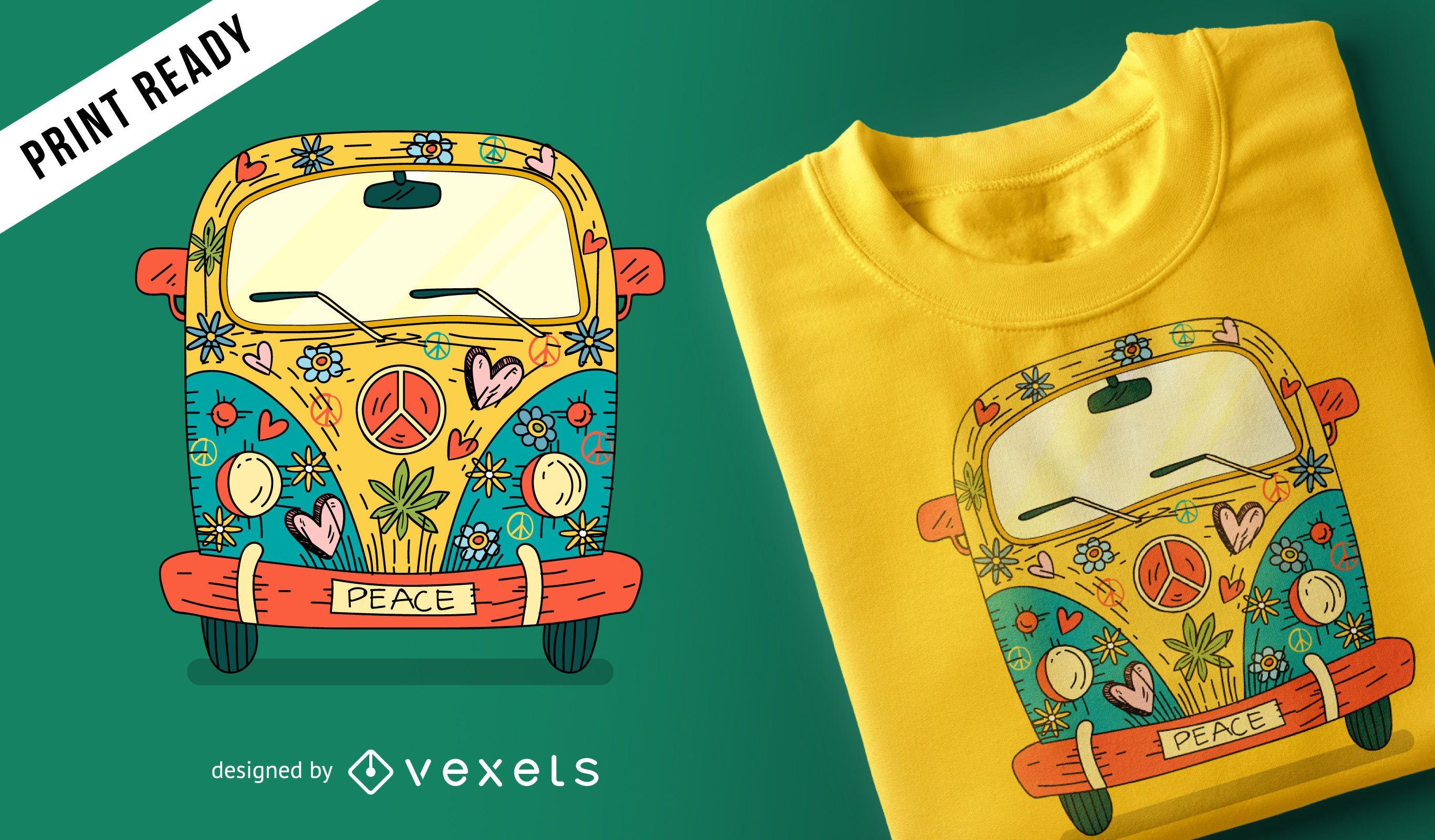 Diseño de camiseta hippie van