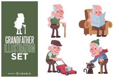 Conjunto de ilustração de avô