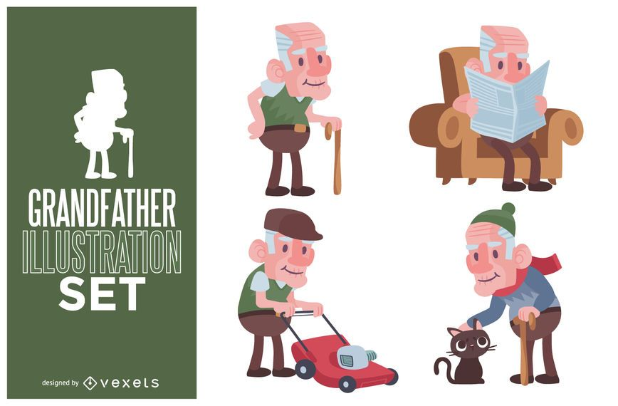 Grandfather illustration set