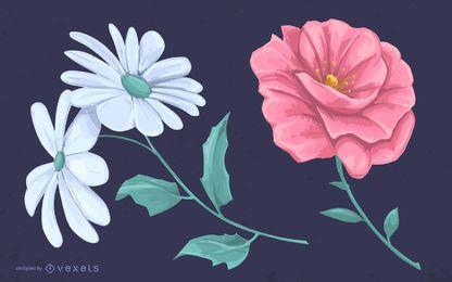 Illustrierte Blumen, die Entwurf zeichnen