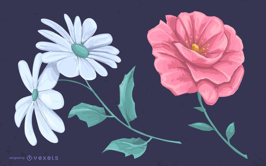 Dibujo ilustrado de flores.