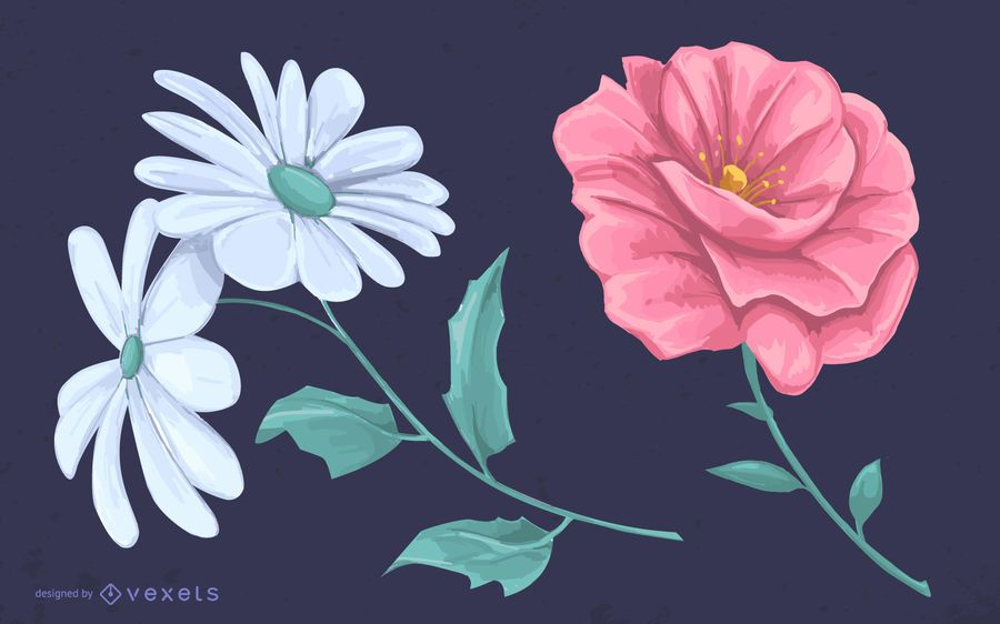 Illustrated flowers drawing design