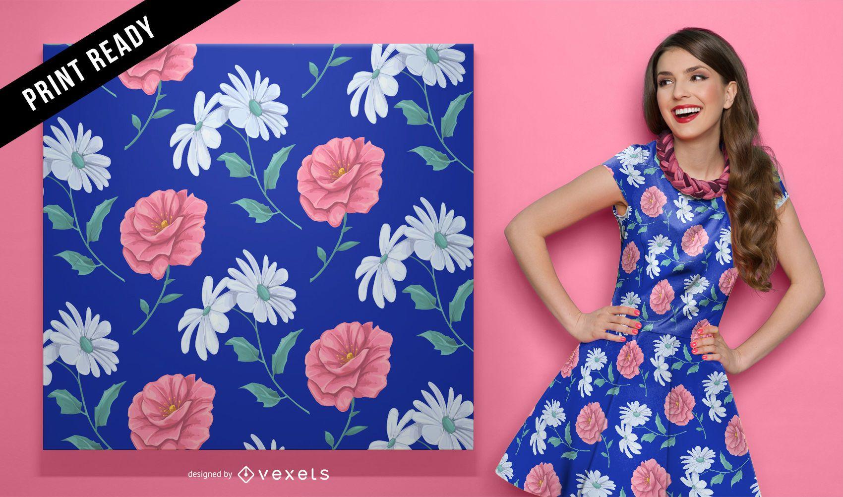 Daisy and rose seamless pattern