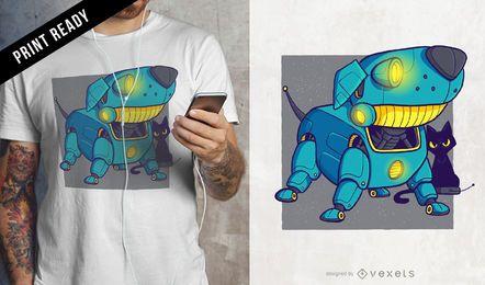 Diseño de camiseta perro robot.