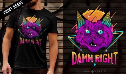 Diseño de camiseta de gato de neón