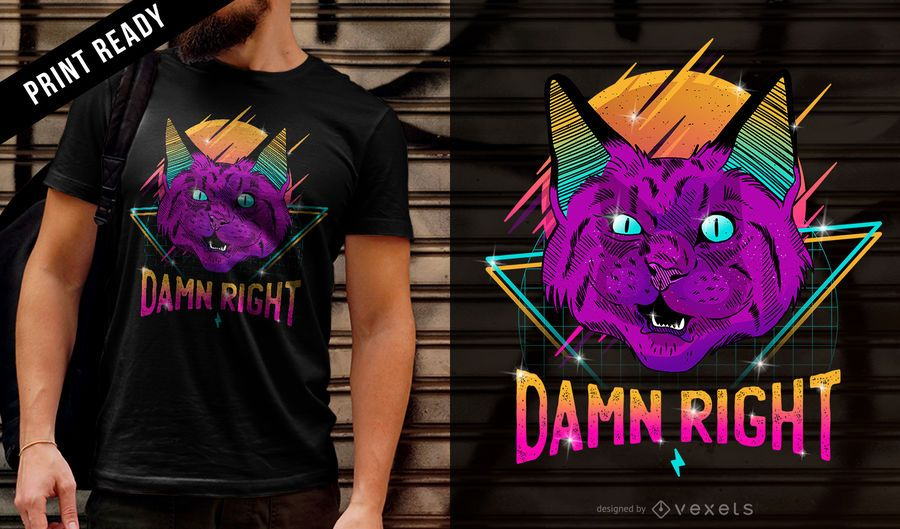 Diseño de camiseta neón fiesta gato