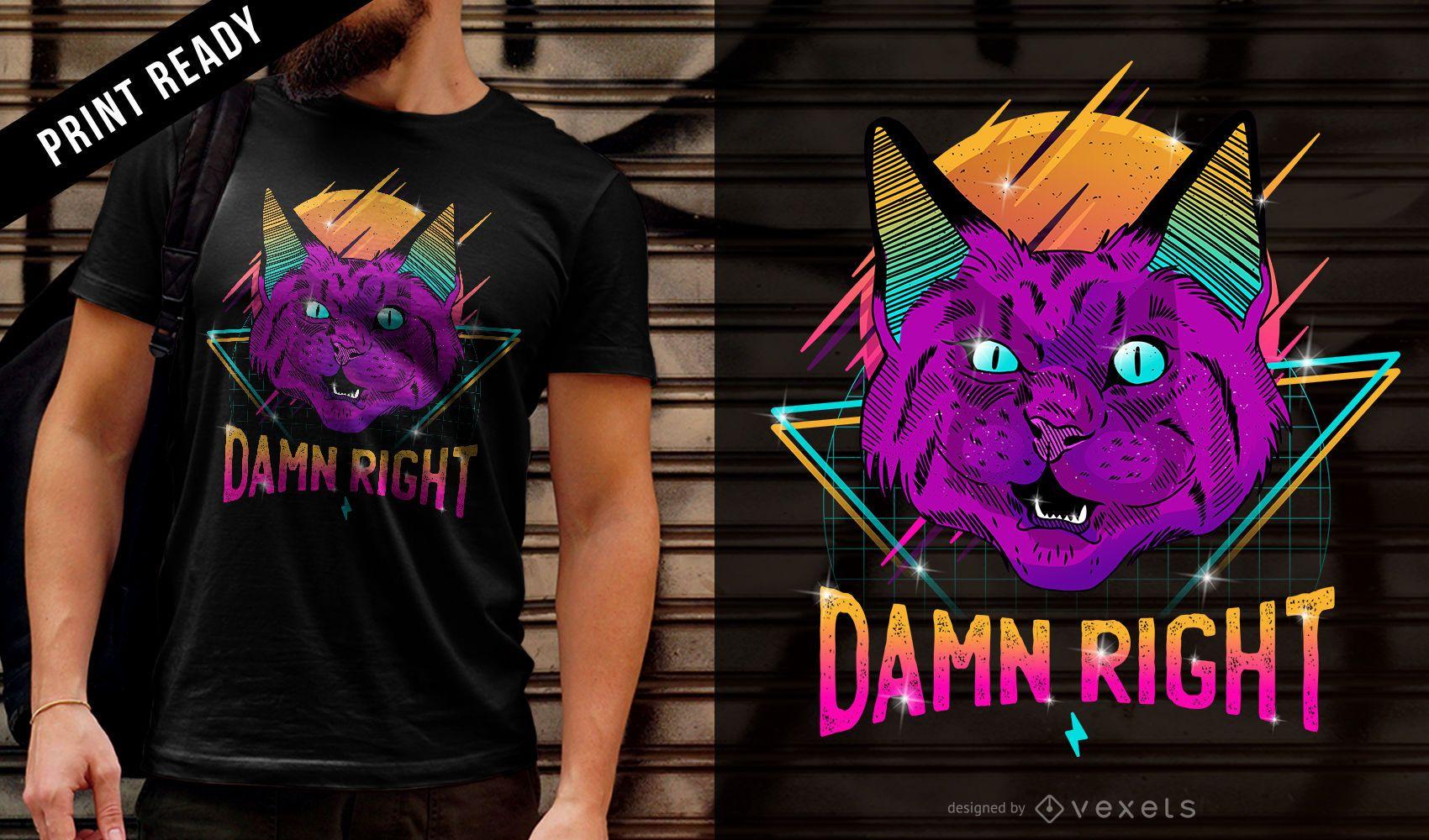 Diseño de camiseta de gato de fiesta de neón