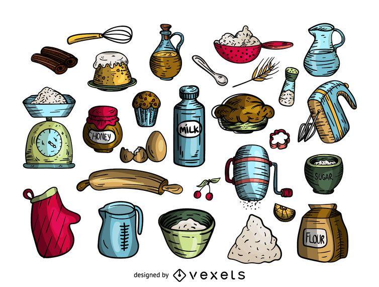Conjunto de iconos de dibujos animados de cocción