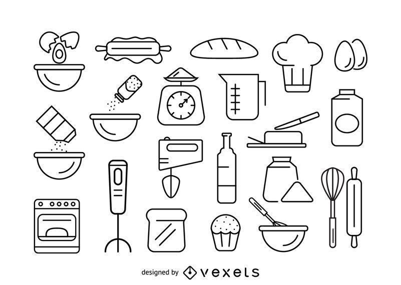 Conjunto de ícones de traço de cozimento