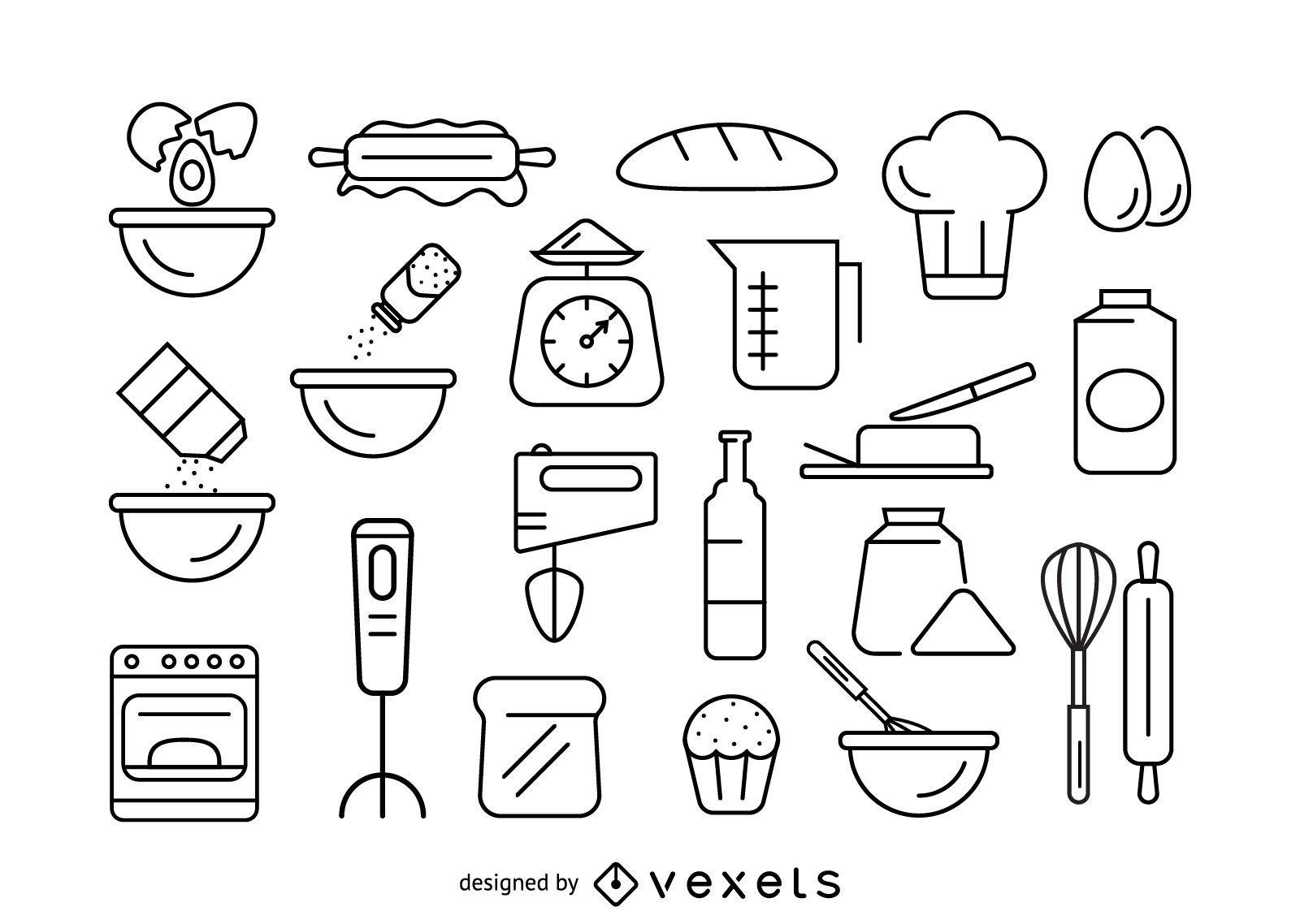 Baking stroke icon set