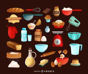 Conjunto de ícones de cozimento