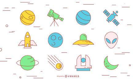 Conjunto de iconos de trazo de espacio