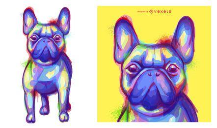 Ilustración de acuarela colorida de bulldog francés