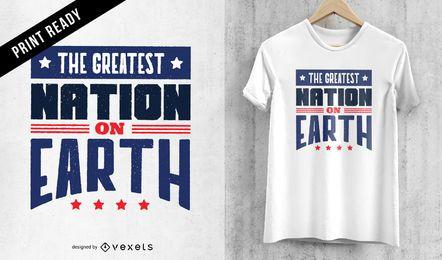 El diseño de camiseta de nación más grande