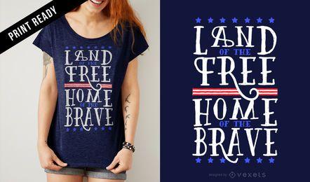 Camiseta de diseño libre y valiente de USA.