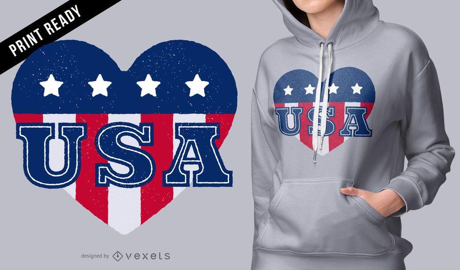 Projeto do t-shirt do coração dos EUA
