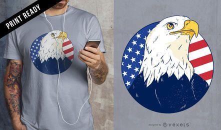 Diseño de camiseta de águila americana