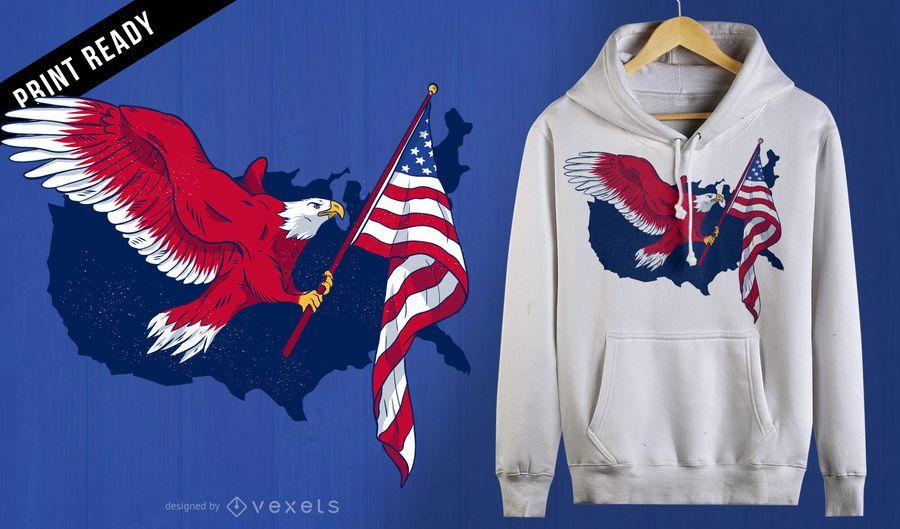 Diseño de camiseta de águila bandera americana.