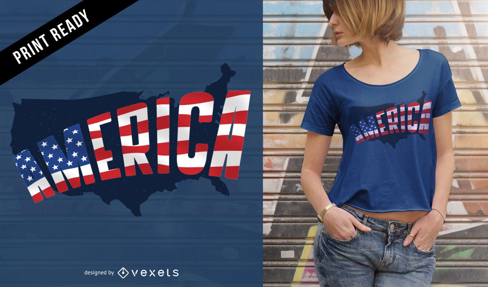 Diseño de camiseta de América