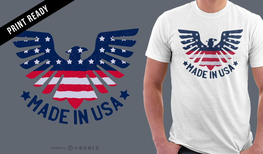Diseño de camiseta Made in USA.