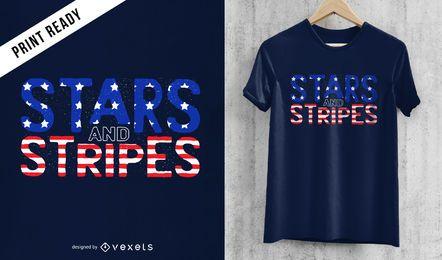 Diseño de camiseta de estrellas y rayas.