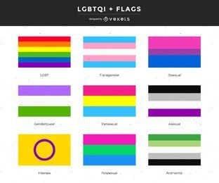 Gender and LGBTQI+ flags collection