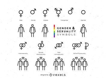 Colección de símbolos de género y sexualidad.