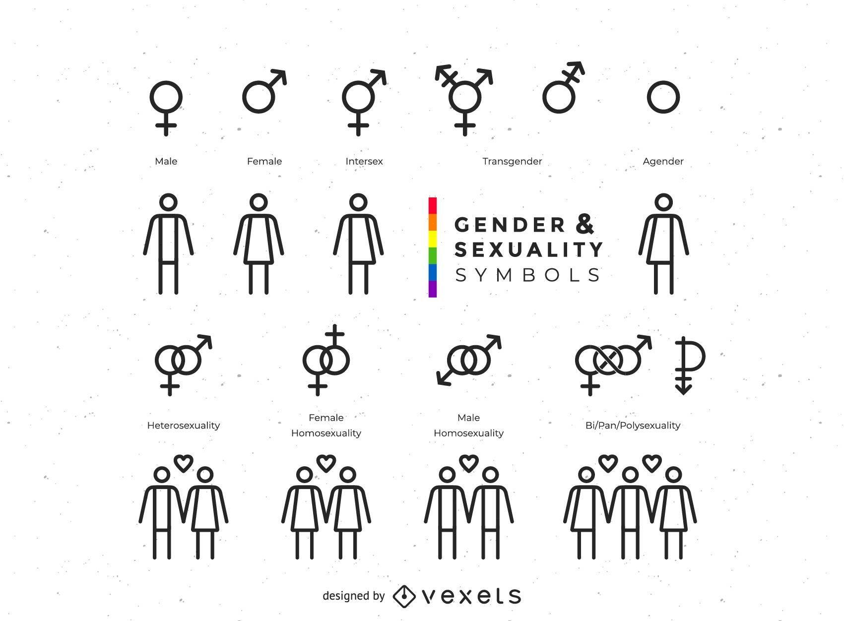 Colección de símbolos de género y sexualidad