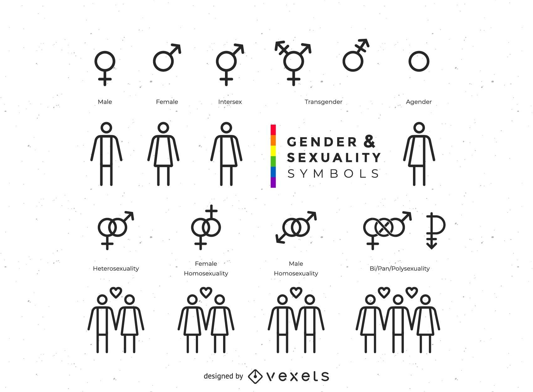 Gender And Sexuality Symbols Collection Vector Download