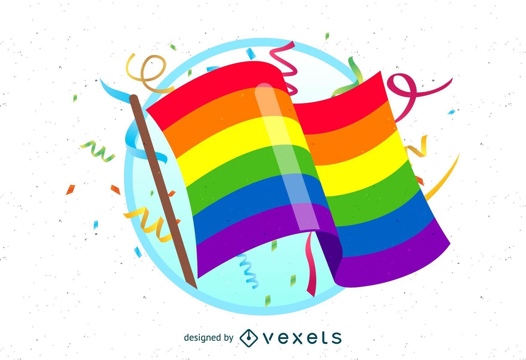 Bandeira do orgulho gay com confete