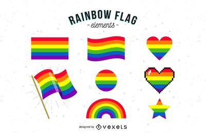 Coleção de elementos de bandeira de arco-íris