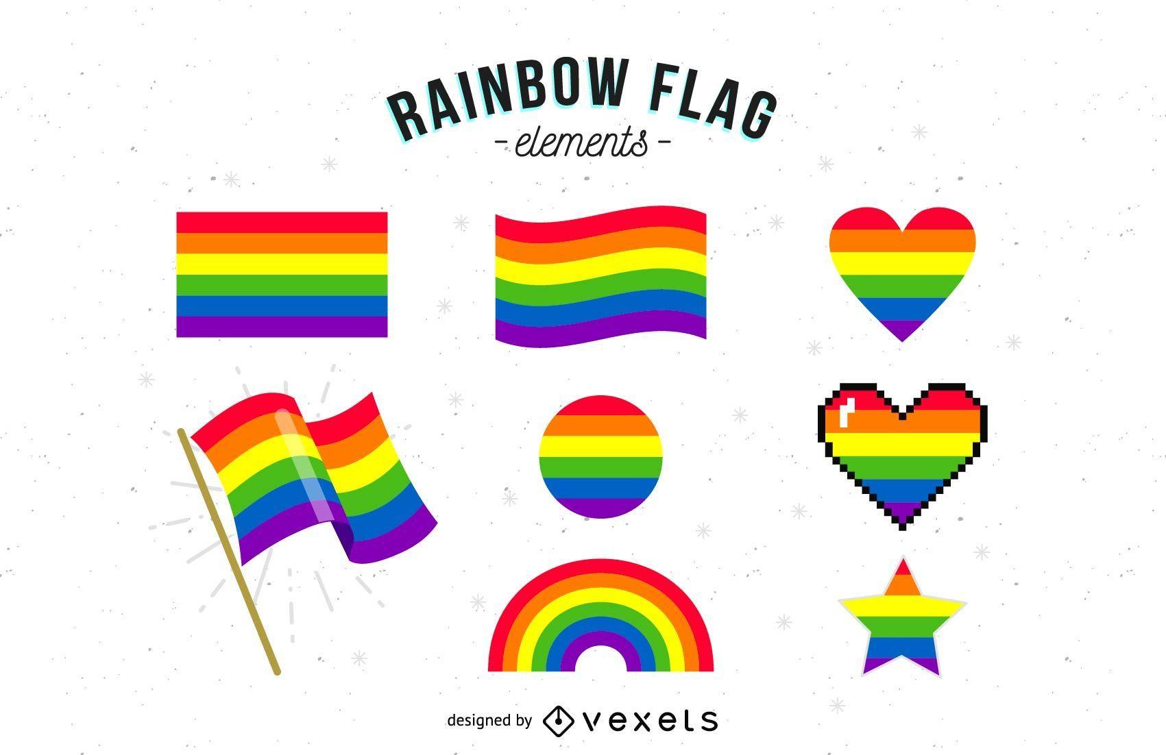 Coleção de elementos da bandeira do arco-íris
