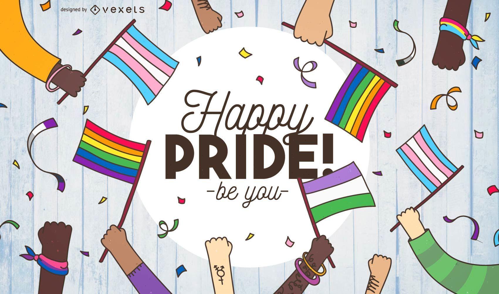 Cartaz de ilustração do Orgulho Feliz
