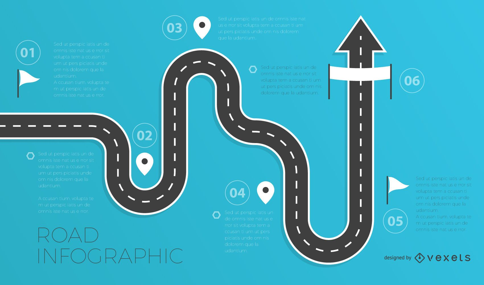 Road infographics template
