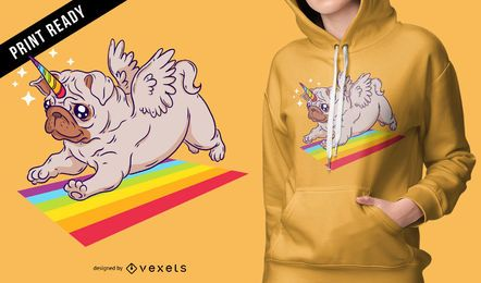 Diseño de camiseta de unicornio pug