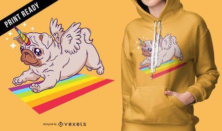 Pug diseño de camiseta unicornio