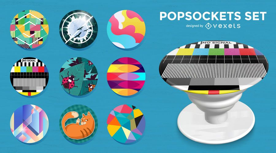 Illustrated popsockets set