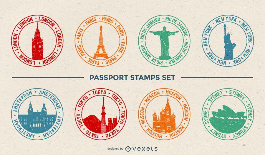 Conjunto de sellos de pasaporte de la ciudad